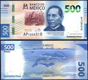 MEXICO PNEW* 500 PESOS* ND 2017(2018)* UNC GEM* USA SELLER