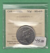 1984 Canada 50 cents Coin - MS-65- ICCS Graded