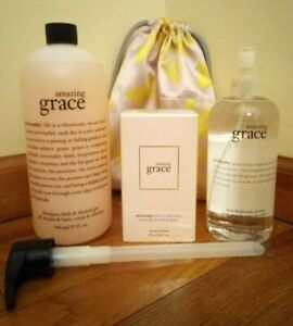 PHILOSOPHY AMAZING GRACE PERFUME DOUBLE SIDED SILVER MIRROR IN POUCH + FREE GIFT