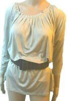 Sportmax Max Mara NWOT 100% silk grey bat sleeves blouse/top-M,UK12,US8,IT44,F40