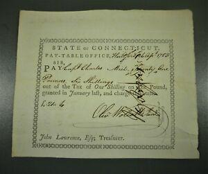 1783 Connecticut Colonial Warrant