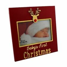 """Baby's First 1st Christmas Red Photo Frame Reindeer One 6"""" x 4"""" Picture Capacity"""