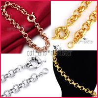 24K PLAIN GOLD FILLED SOLID BELCHER BOLT RING LINK CHAIN LADY BRACELET XMAS GIFT