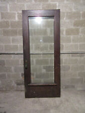 ~ Antique Oak Door With Beveled Glass And Hardware ~ 37.5 X 89.25 ~ Salvage ~