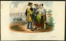Manila, Philippines, People in Costumes, original coloured lithography from 1844