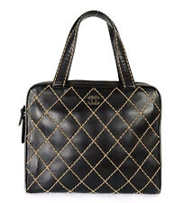 CHANEL Black Contrast Stitch Quilted Leather SURPIQUE Large Bowler Bag