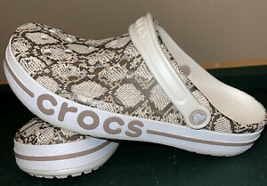 Crocs Bayaband Men's Size 11 Snakeskin Printed Clogs