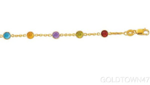 14K Yellow Gold Cable Chain Link Anklet+Multi Color Round Faceted Station Stone