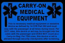 Hi-Viz Blue Carry-On Medical Equipment Bag Tag - TSA - CPAP BiPAP APNEA POC