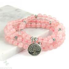 Pendant 108 Bead Mala Bracelet Classic Reiki 6mm Pink Crystal Gem Tree of Life