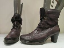 GABOR BROWN LEATHER LACE UP HEELED ANKLE BOOTIES UK 8 (3493)