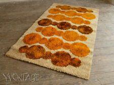 Original 70er Teppich Hochflor 194 x 118 cm OpArt orange beige Space Age