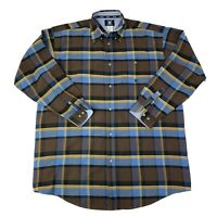Twenty X Wrangler Mens Size 2XT Tall Brown & Blue Long Sleeve Western Shirt