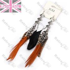 "7""long WILD BIRD FEATHER EARRINGS black/natural/rust/silver fashion F21 pheasant"