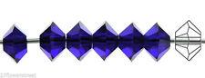 36 Czech MC Spacer Beads (Squished Diamond shape 5305) 3x5mm, Cobalt Blue color