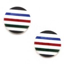 Screw Back (pierced) Enamel Stud Round Costume Earrings
