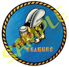 Military Seabee Logo Full Color Clear Laminated Sticker