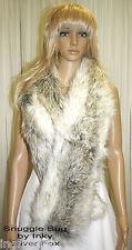Silver Fox Faux  Fake Fur  Long SCARF STOLE WRAP Soft  & Gorgeous Brand New !