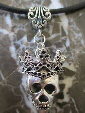 Gothic Silver Sugar Skull & Crown Pendant on Black Leather Necklace
