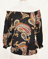 VTG 90s BoHo Hippie CHIC Sheer Paisley On Off Shoulder Shirt Blouse Top sz M