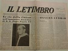IL LETIMBRO AGOSTO 1964 SETTIMANALE CATTOLICO DI SAVONA  I-8-183