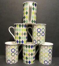 6 A SET OF SIX CHECKS & CIRCLES FINE BONE CHINA MUGS CUPS BEAKERS TO CLEAR