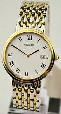 Seiko Men's Gold Plated Strap Polished Wristwatches