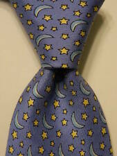 VINEYARD VINES Martha's Boys Youth 100% Silk Necktie Luxury MOON STARS Blue EUC
