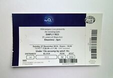 SIMPLY RED TICKETS - Ticket Stub(s) The O2 Arena London 27/11/16 Memorabilia