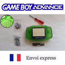 Coque GAME BOY ADVANCE clear Vert green NEUF NEW +tournevis -étui shell case GBA