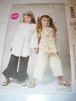 GIRLS UNCUT MCCALLS Sewing Pattern M6530 TUNIC TOP SHIRT RUFFLE PANTS SIZE 6 7 8