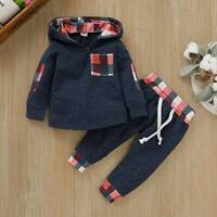 Toddler Infant Baby Boys Hooded Outfits Plaid Long Sleeve Tops Pants Clothes Set