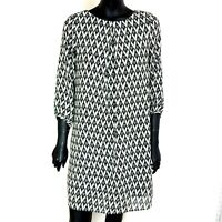 H&M Flared Dress A-Line Black White Floaty Lined UK 10 3/4 Sleeve