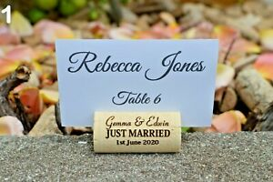 Personalized wine cork place card holder - Wedding card holder - white