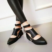 Vogue Women Plus size Pointy toe Cut out Buckle Casual Shoes Korea US4-11 Preppy