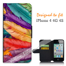 Apple iPhone 4 4G 4S Wallet Flip Phone Case Cover Feather Colours Y00847