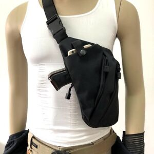 Tactical Chest Sling Bag Concealed Outdoor Hunting Thin Spy Gun Holster Pouch