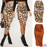 Womens Vintage Leopard Print Casual Mid-Calf Skirt Club Holliday Bodycon Dress
