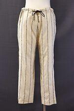 NWT$1595 Brunello Cucinelli Silk Crepe Shiny Sequin Striped Drawstring Pant 42/6
