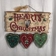 JDL Inc Red Green Tan Wooden Hearts Come Home for Christmas Hanging Art Plaque