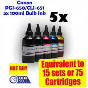 Canon cartridges Bulk Refill Ink CLI651 PGI650 5x100ml PIXMA MG5460 MX726