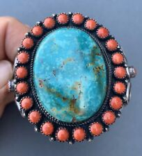Vintage Silver Navajo Cuff Bracelet With Turquoise And Coral