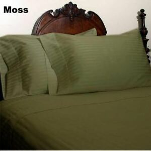 1000TC Moss Striped Bed Skirt Select Drop Length All US Size 100% Egy Cotton