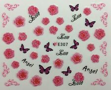 Nail Art 3D Decal Stickers Pink Roses & Butterflies Love Angel Valentine's E307