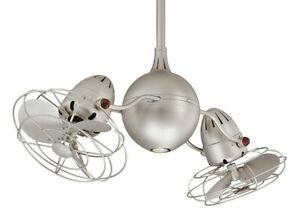 Matthews Fan Company Acqua Rotational Ceiling Fan Brushed Nickel W Nickel Blades