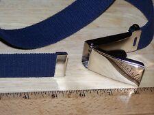 "Belt Web Military Style Blue Chrome Flip Buckle 54"" f Jeans Khaki Phone  w P38"