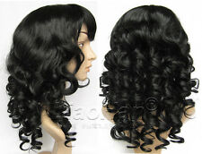 Medium Long Curly Black Wig Full Head Synthetic Black Hair Wigs for Women