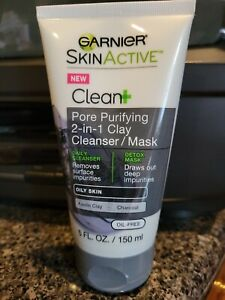 Garnier Skinactive Pore Purifying 2-in-1 Clay Cleanser/Mask 5oz -Free Shipping