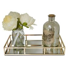 Gold Metal Dressing Table Rectangular Serving Tray with Mirror Glass Base
