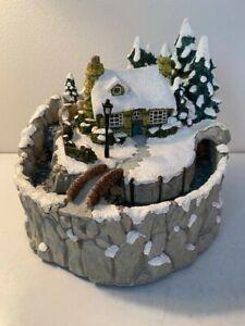 Vtg Thomas Kinkade Waterfall Table Top Fountain - Winter Scene 1997